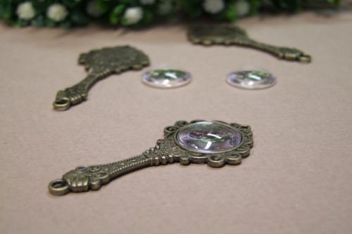 Antik bronz medálalap tükör - KreatívHobbyLabor.hu